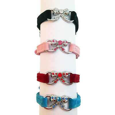 Suede Collar Cat Kitten Dog Puppy Pet Pets safety release adjustable Bow Bling
