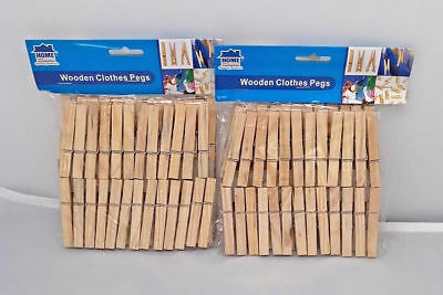 100 x Wooden Clothes Spring Pegs Laundry Washing Length 72mm