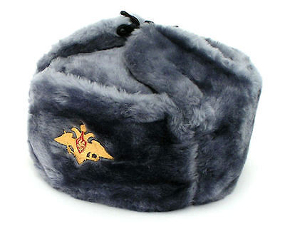 Russian Authentic Gray Ushanka Military Hat With Royal Eagle Emblem