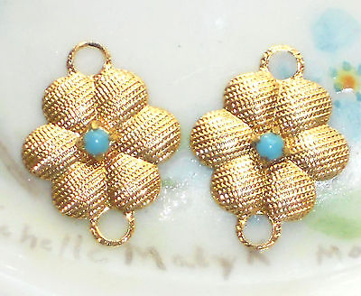 #94G Vintage brass Connectors Chalk Blue Gold Plated Floral Glass Findings NOS