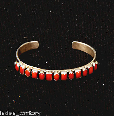 Navajo Indian Square and Round Cut Coral Bezel Row Bracelet