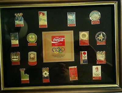 Coca cola 16th anniversary winter Olympics collector's pin set, 16 pins