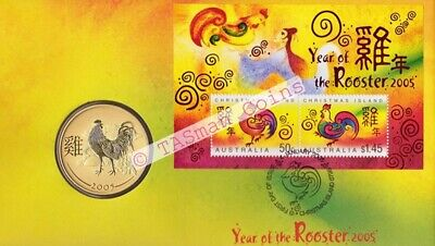 Australia/Christmas Island 2005 - Lunar New Year ROOSTER PNC Perth Mint 50c Coin