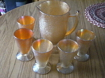 Imperial Marigold LustreCrackled Carnival Glass Water Pitcher and 5 Tumbler Set