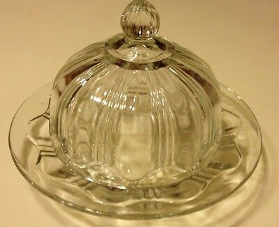 VINTAGE COLONIAL ROUND CRYSTAL COVERED BUTTER DISH