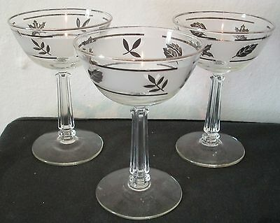 """Libbey Silver Leaf Champagne Sherbert Glasses 5 1/2"""" tall Set of 3 Must See Neat"""