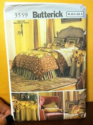 BEDROOM DUVET COVER PILLOW SHAMS DRAPES NECK SEWING PATTERN Butterick 3559