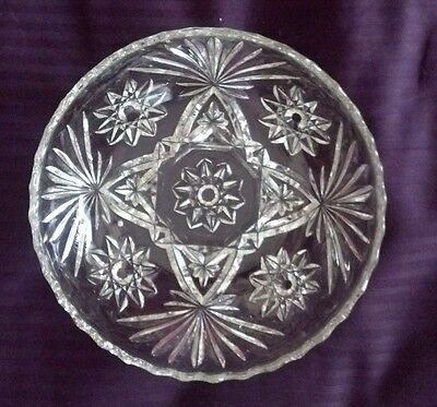 """VINTAGE EARLY AMERICAN PRESCUT-STAR OF DAVID CLEAR LARGE 7.25"""" SERVING"""