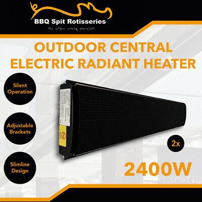 2 x Electric Outdoor Strip Heaters 2400W Slimline Radiant Heater FREE Controller