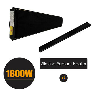 2x 1800W  Electric Outdoor Strip Heater Slimline Radiant Heater +Controller
