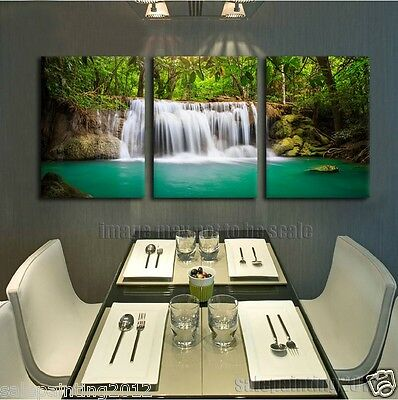 Nature Waterfalls Picture Green Tropical Rainforest PRINT Home Decor (no framed)