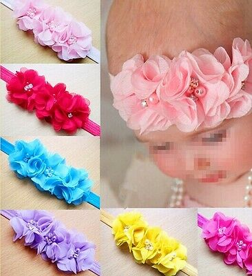 10pcs Pearl Flower Baby Toddler Girl Headband Hair Band Headwear New
