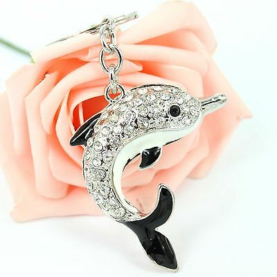 Dolphin Porpoise Lovely Cute New Crystal Pendent Charm Purse Bag Key Chain Gift