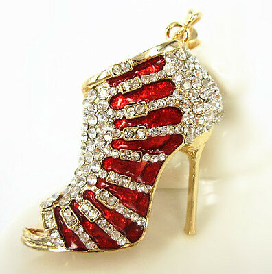 Red Shoe High Heel Charm Pendent Crystal Lovely Purse Bag Keyring Key Chain Gift