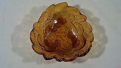 Vintage Indiana Amber Glass Berry Pattern Candy Dish