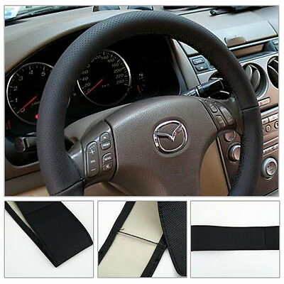 DIY Leather Car Auto Steering Wheel Cover With Needles and Thread Black OK