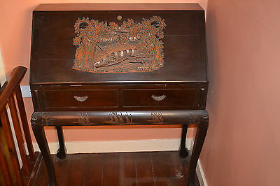 Antique Anglo Chinese desk ,heavily carved decoration and fitted interior,c 1910