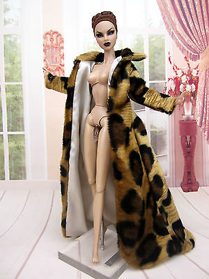 Leopard Fur Coat Dress Outfit Gown Fits Silkstone Barbie Fashion Royalty Candi