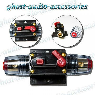 60a Amp Car Audio Circuit Breaker AGU Style Fuse Holder Gold Plated