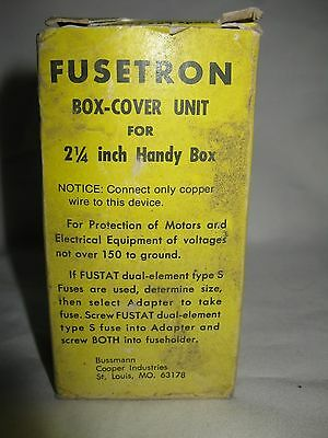 "Fusetron Type SSU Box-Cover Unit for 2-1/4"" Handybox One Fuseholder 1 Switch"