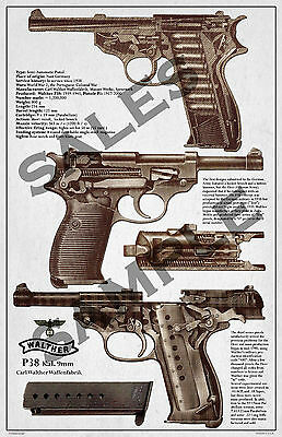Walther P38 Poster from vintage1940, Reprint of original file, Poster 11x17