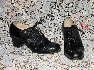 Vintage 40's Black Leather Lace-Up Granny Oxfords Shoes 6 1/2A