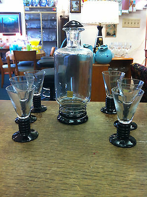 Swedish Labeled Art Deco Black & Crystal Decanter & Six Matching 1.5 oz. Goblets