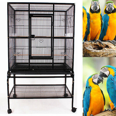 Large Black Bird Cage Large Play Top Parrot Finch Cage Macaw Cockatoo Supplies