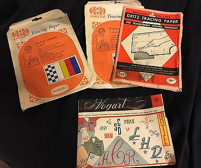 Lots Of Asst  Iron On Embroidery Transfers Assorted Monograms/ Tracing Paper VTG