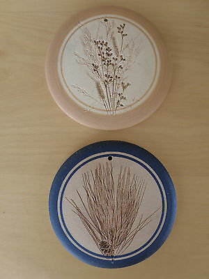 """2 Rustic BLUE MOON ART POTTERY 5"""" Stoneware Bun Warmers OR Wall Decoration"""