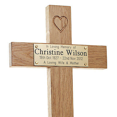 "17"" Tall Oak Carved Heart Wooden Memorial Cross Engraved Plaque Grave Marker pet"