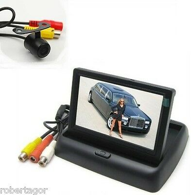 Kit Monitor Lcd A Scomparsa Tft 4.3 Video Auto Camper Con Telecamera Retromarcia