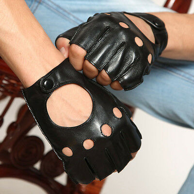 Mens Genuine Nappa Leather Half Finger Unlined Soft Driving Gloves On Sale #015
