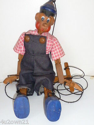 VINTAGE WOODEN PINOCCHIO MARIONETTE PUPPET ARTICULATED DOLL