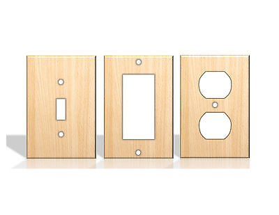 Beech Wood Pattern Light Switch Covers Home Decor Outlet - Made from Plastic