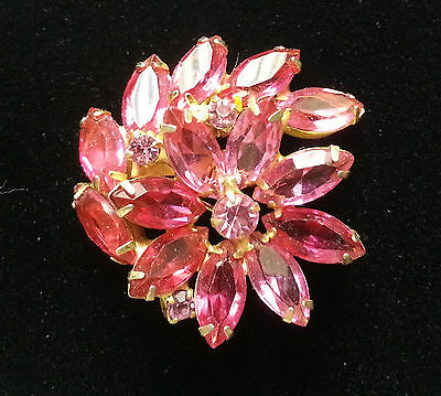 **Unsigned** WEISS Pink Cocktail Brooch/Pin