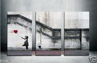 3 piece Large banksy there is always hope,modern Handcraft Oil Painting-NO FRAME