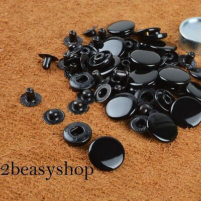 10/12.5/15/17mm Black Glossy Snap Fasteners Press Studs Sewing Clothing Poppers