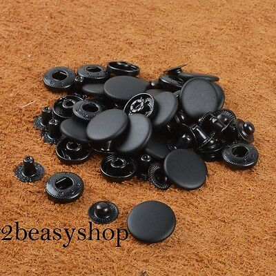 Pack 15 Black Snap Fasteners Press Studs 10/12.5/15/17mm Sewing Clothing Button