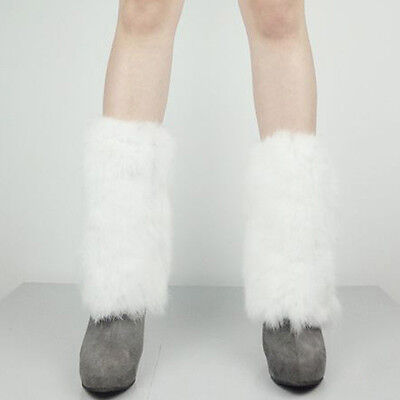 080102 Real Rabbit Fur Leg Warmers Womens Winter Leggings Boot Toppers 23cm