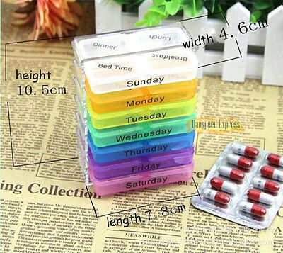 Weekly Medicine Tablet 7-Day Pill Boxes Storage Holder Organizer Container Case