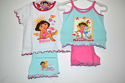 Dora Beach/Sun outfits Girl's twin pack-tops and shorts 1-1.5/1.5-2/2-3/3-4/5-6