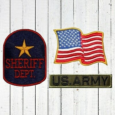 Set Rambo Jacket Embroidered Patches USA Flag US ARMY Sheriff Dept Shield Police