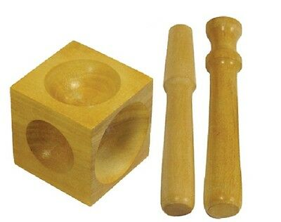 Jewelers Wooden Dapping Doming Block With 2 Punches 2x2x2