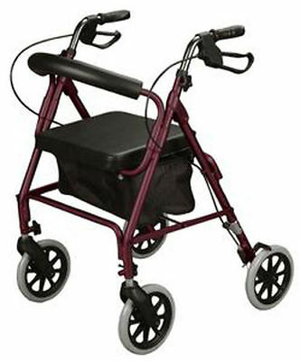 Cardinal Health Rollator Rolling Walker with Curved Back Soft Seat Burgundy