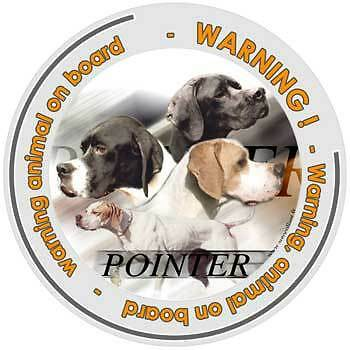 Circular Dogs sticker attention English Pointer on board