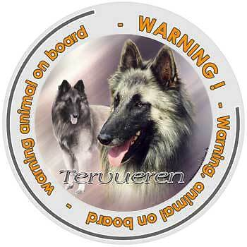 Circular Dogs sticker attention belgian shepherd on board