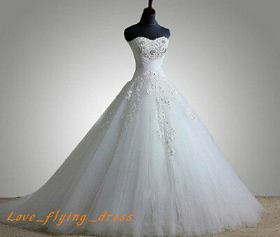 New White/Ivory Sweetheart Ball Gown Wedding Dresses Formal Bridal Gowns Custom