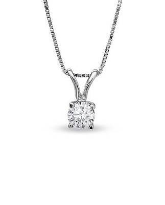 1 ct Real 10k Solid White Gold Round Cut Solitaire Pendant Necklace & Box Chain