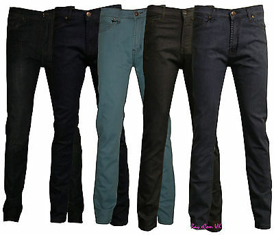 Men's Boys Slim Fit Stretch Jeans Denim Fly Zip Classic Trouser Pants Size 30-38